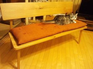 ベンチ用長座布団と猫